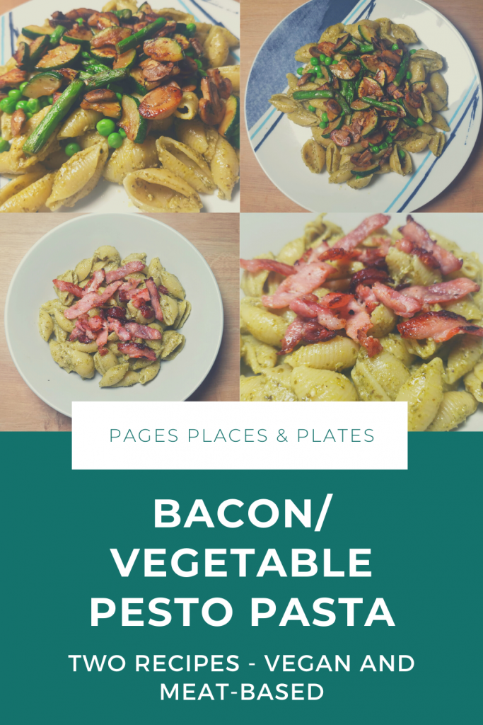 Bacon/vegetable pesto pasta Pinterest image