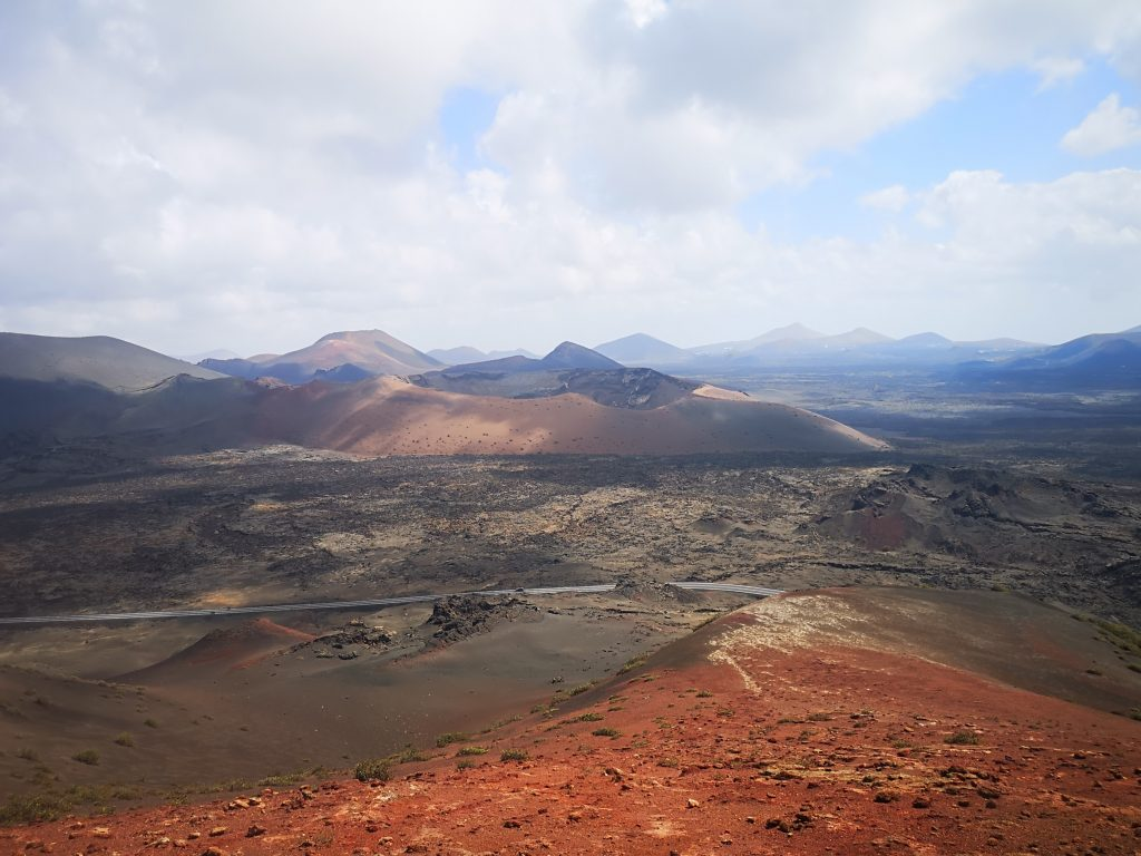 Volcanic landscape from the one of the highest points of Timanfaya National Park
