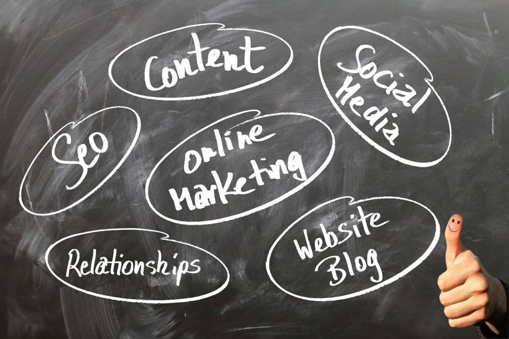 Marketing strategy on blackboard with thumbs up