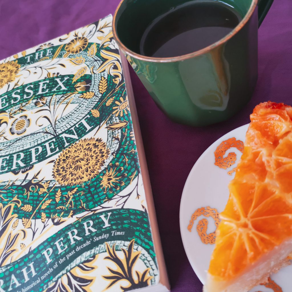 Tea with The Essex Serpent book and mandarin upside-down cake
