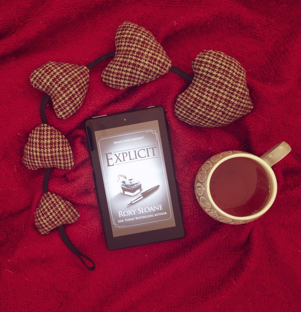 Dark Romance, one of the loose leaf tea blends, with Explicit on Kindle and heart decor