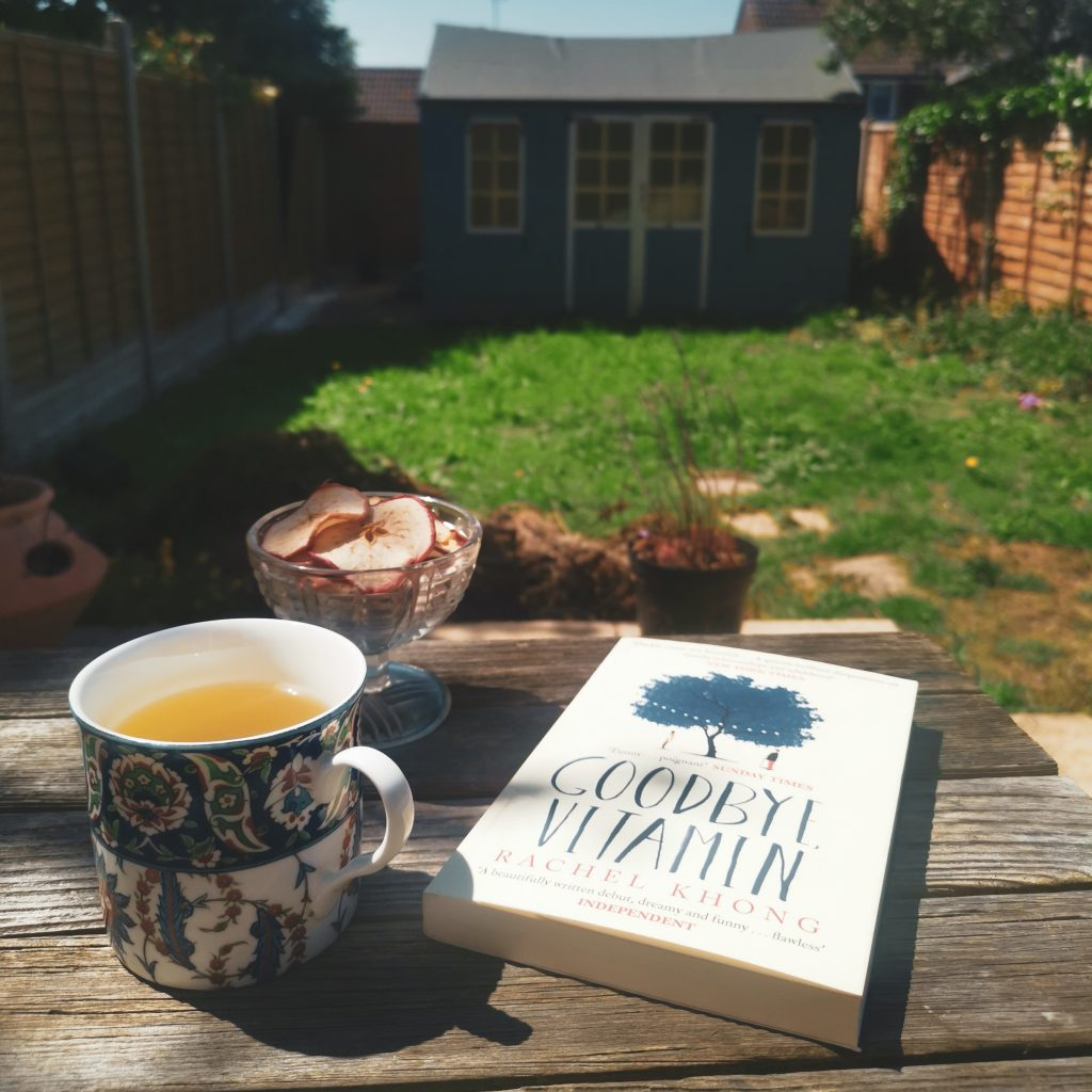 Tea and apple crisps outside with Goodbye, Vitamin book