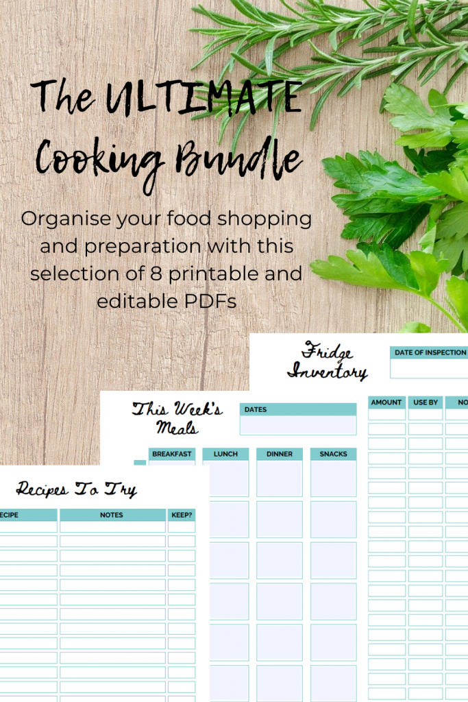 Pinterest image for cooking printables