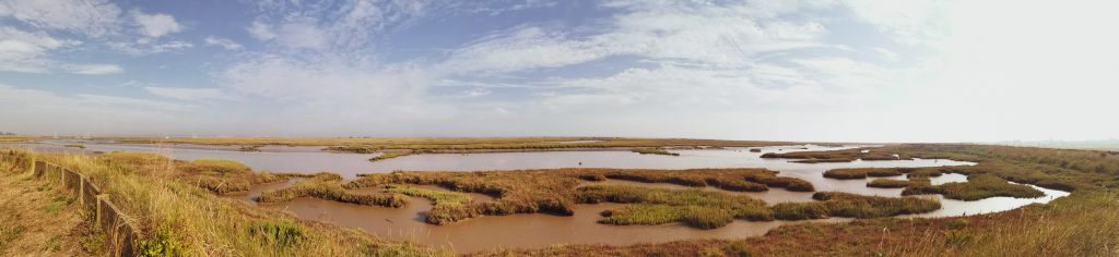 Panorama of one of the most scenic Essex walking routes - Walton Backwaters