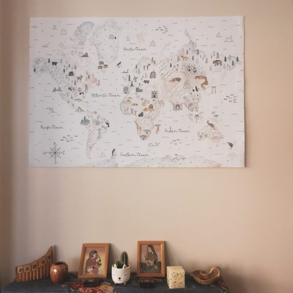 Title image for world map prints by Photowall