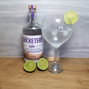 Another of the vegan gift ideas - bottle of Cricketers Gin next to full gin glass and two lime halves