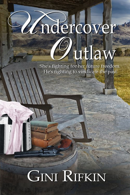 Cover image for Undercover Outlaw by Gini Rifkin, showing a veranda. A wooden chair and a table stacked with books sit in the foreground, in front of a golden field and a mountainous landscape in the background