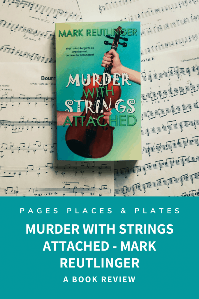 Pinterest image for cosy mystery novel Murder With Strings Attached