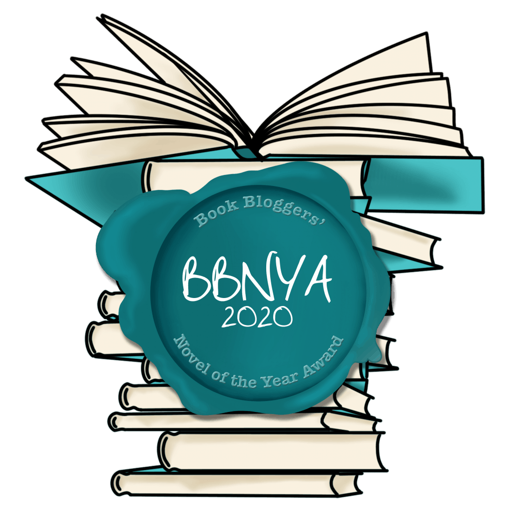 """BBNYA logo - cartoon piles of books behind teal stamp that reads """"Book Bloggers' BBNYA 2020 Novel of the Year Award"""""""