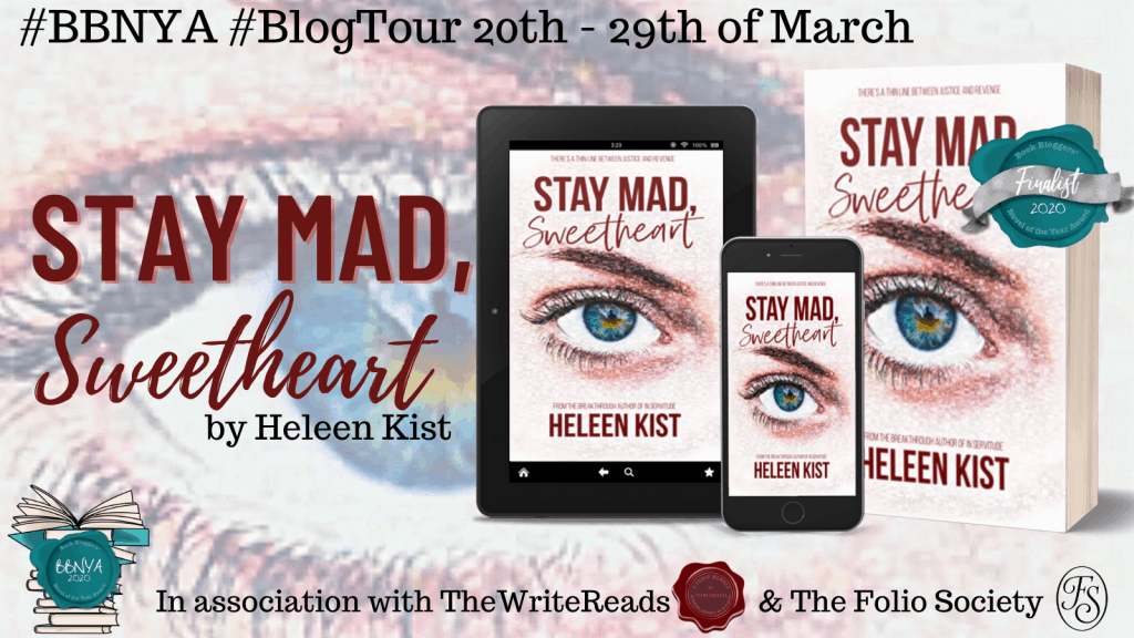 Title image for Stay Mad, Sweetheart - blog tour banner showing book on Kindle, phone, and as paperback